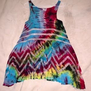 Free People Tie Dye Voile and Lace Trapeze Slip
